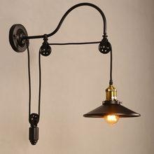 Industrie vintage retro Loft wand lampe Hause göttin Einstellbare Eisen Pulley licht für schlafzimmer restaurant korridor cafe bh leuchte