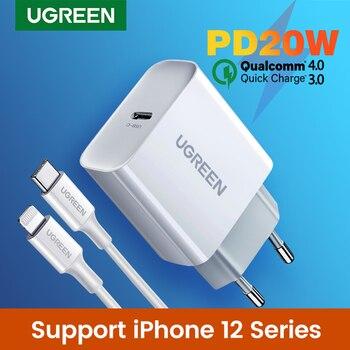 Устройство для быстрой зарядки Ugreen 4,0 3,0 QC PD, зарядное устройство 20 Вт QC4.0 QC3.0 USB Type C, быстрое зарядное устройство для iPhone 12 X Xs 8 Xiaomi, зарядное ус...