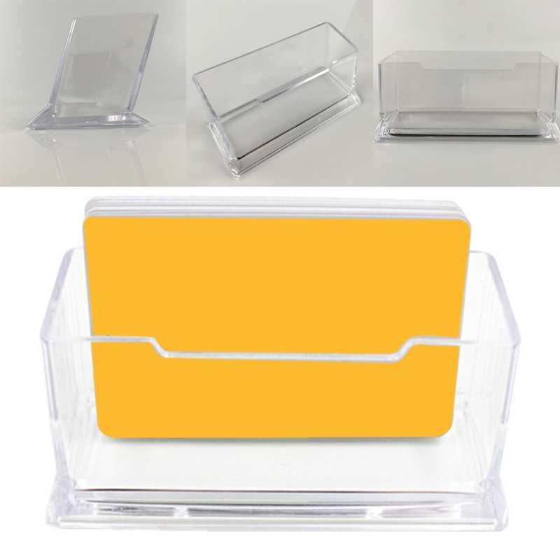 1 шт. прозрачный Настольный держатель для визиток, органайзер для стола, подставка для дисплея, акриловые офисные принадлежности, настольные аксессуары