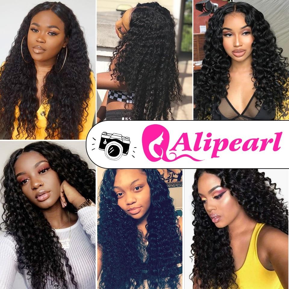 H34e21f0ba40545f0b6ced6703b315c2bK Deep Wave Bundles With 5x5 Closure Brazilian Human Hair 3 Bundles With Closure 6x6 Free Part Remy Hair Extensions AliPearl Hair