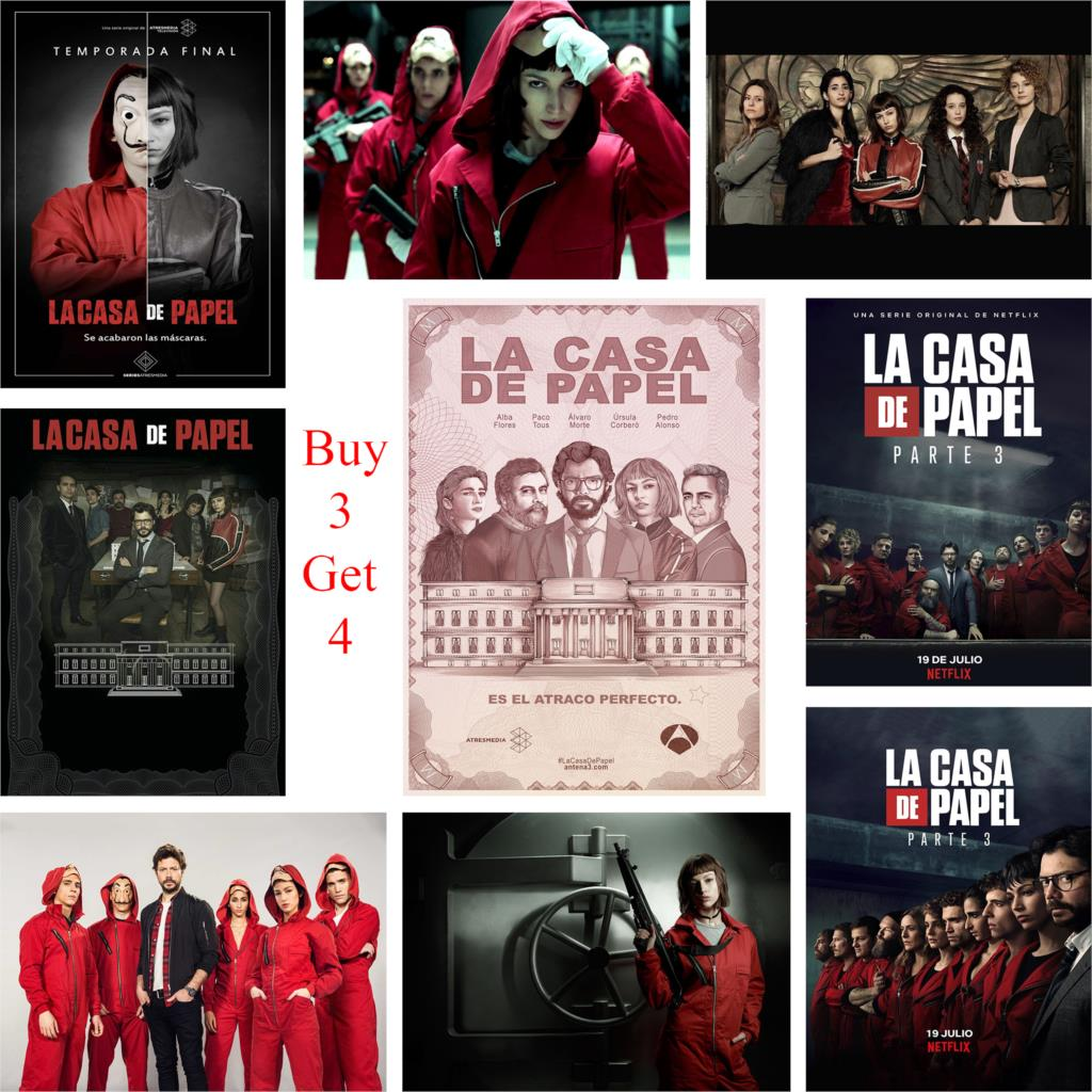 US $1 71 39% OFF|Money Heist Posters la casa de papel Glossy Paper Wall  Decoration Vivid Color-in Wall Stickers from Home & Garden on  Aliexpress com |