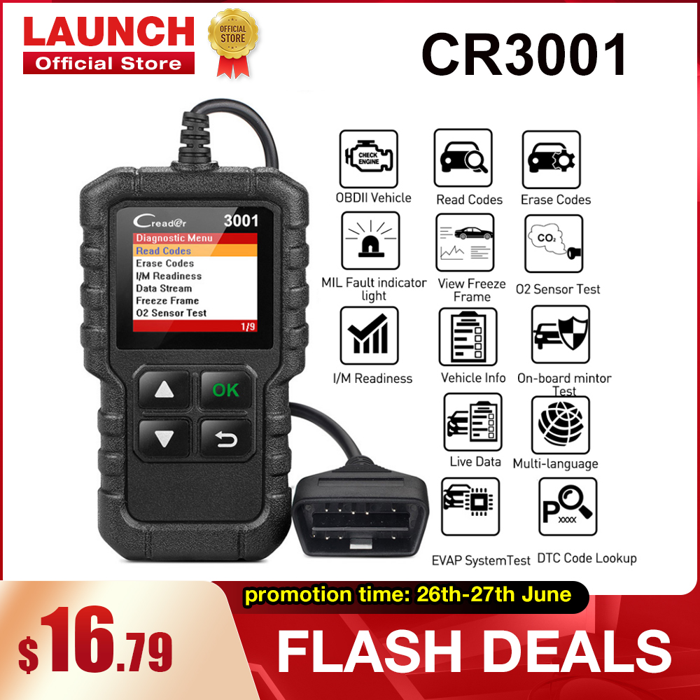 LAUNCH X431 CR3001 Full OBD2 Scanner OBDII Engine Code Reader Car Diagnostic Tool Multilingual Free Update PK CR319 AD310 ELM327