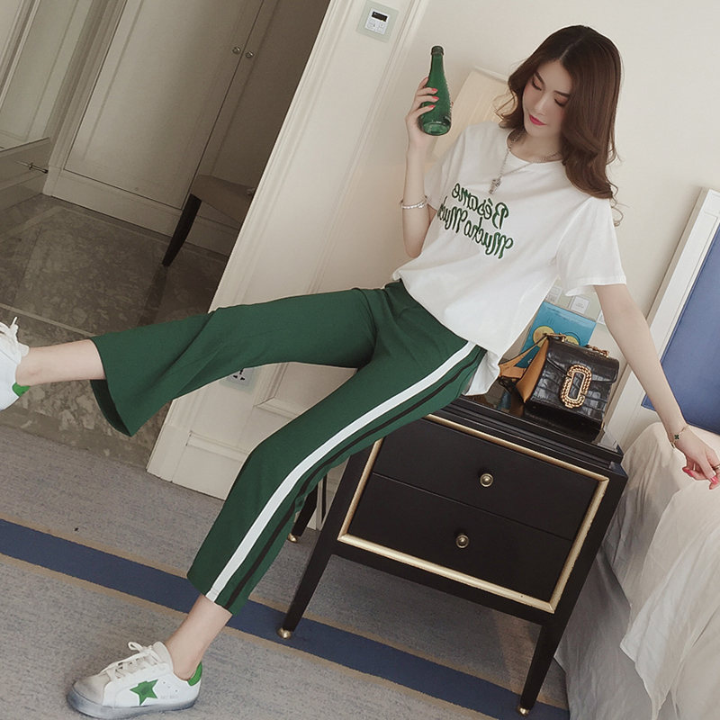 Ozhouzhan Casual Sports WOMEN'S Suit 2019-Versitile Fashion Embroidered Letters Short Sleeve Wide-Leg Capri Pants Loose-Fit