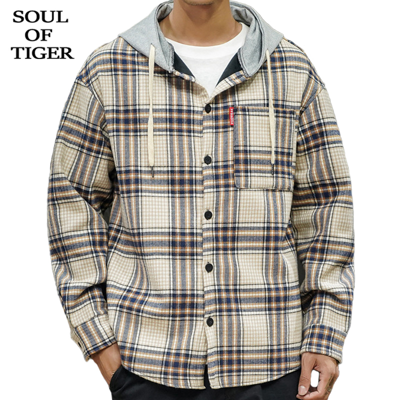SOUL OF TIGER New 2019 British Style <font><b>Mens</b></font> Vintage Plaid <font><b>Shirts</b></font> Male <font><b>Fur</b></font> Hooded Tops <font><b>Winter</b></font> Thick Warm Clothes Plus Size XXXXXL image