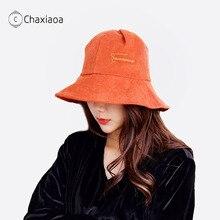 Sunscreen Bucket-Hat Fisherman-Hat Brim Embroidered Korean Corduroy Fall/winter New Letter
