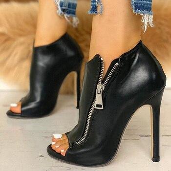 Παπούτσια γυναικεία ψηλά τακούνια 11cm με φερμουάρ Peep Toe Γόβες Παπούτσια MSOW