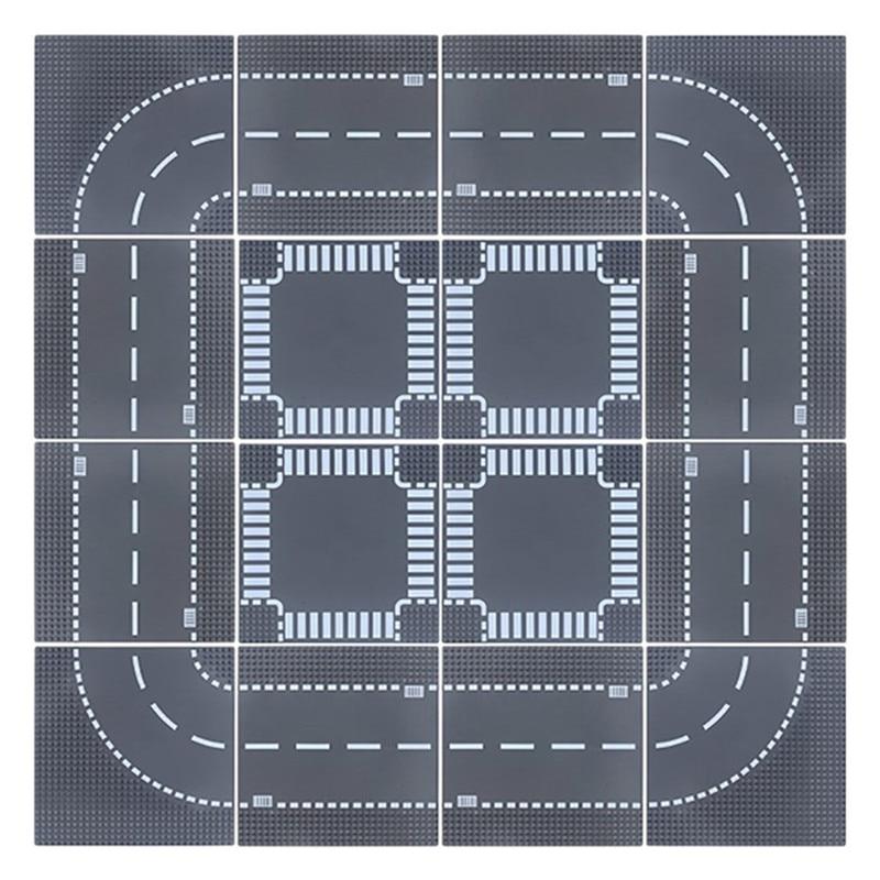 Estrada da cidade rua baseplate reta crossroad curva splicing rodapé diy criador blocos de construção placa base tijolos crianças brinquedos