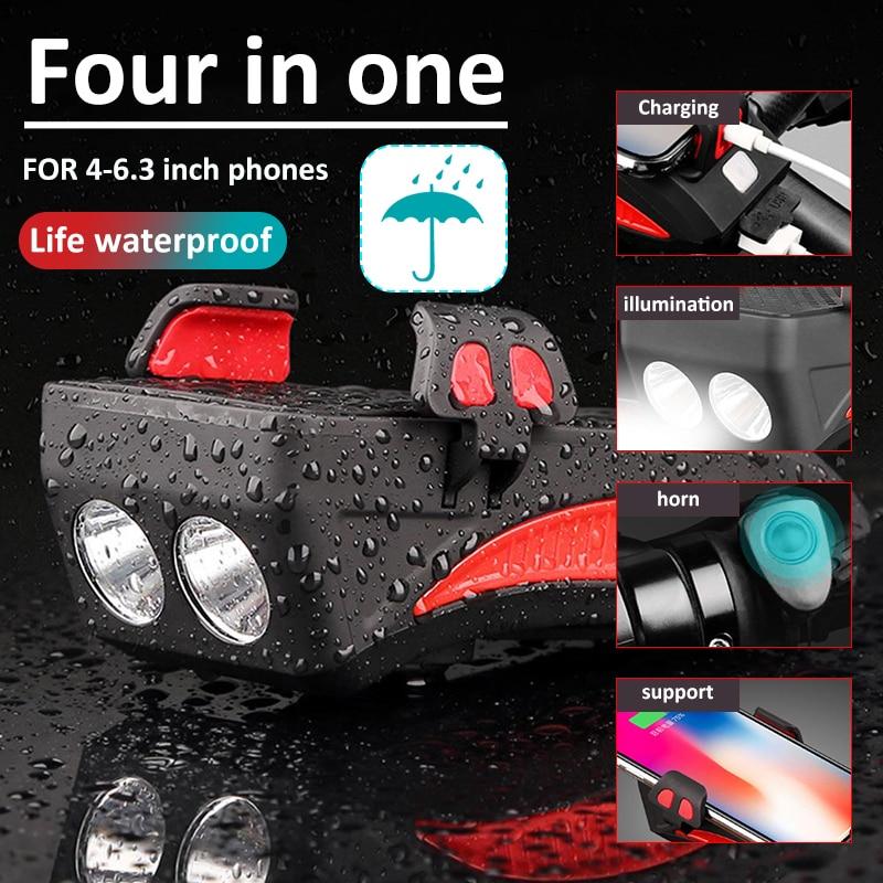 Waterproof Bicycle Bike Bluetooth Speaker Phone Holder Charger Bell LED Lamp