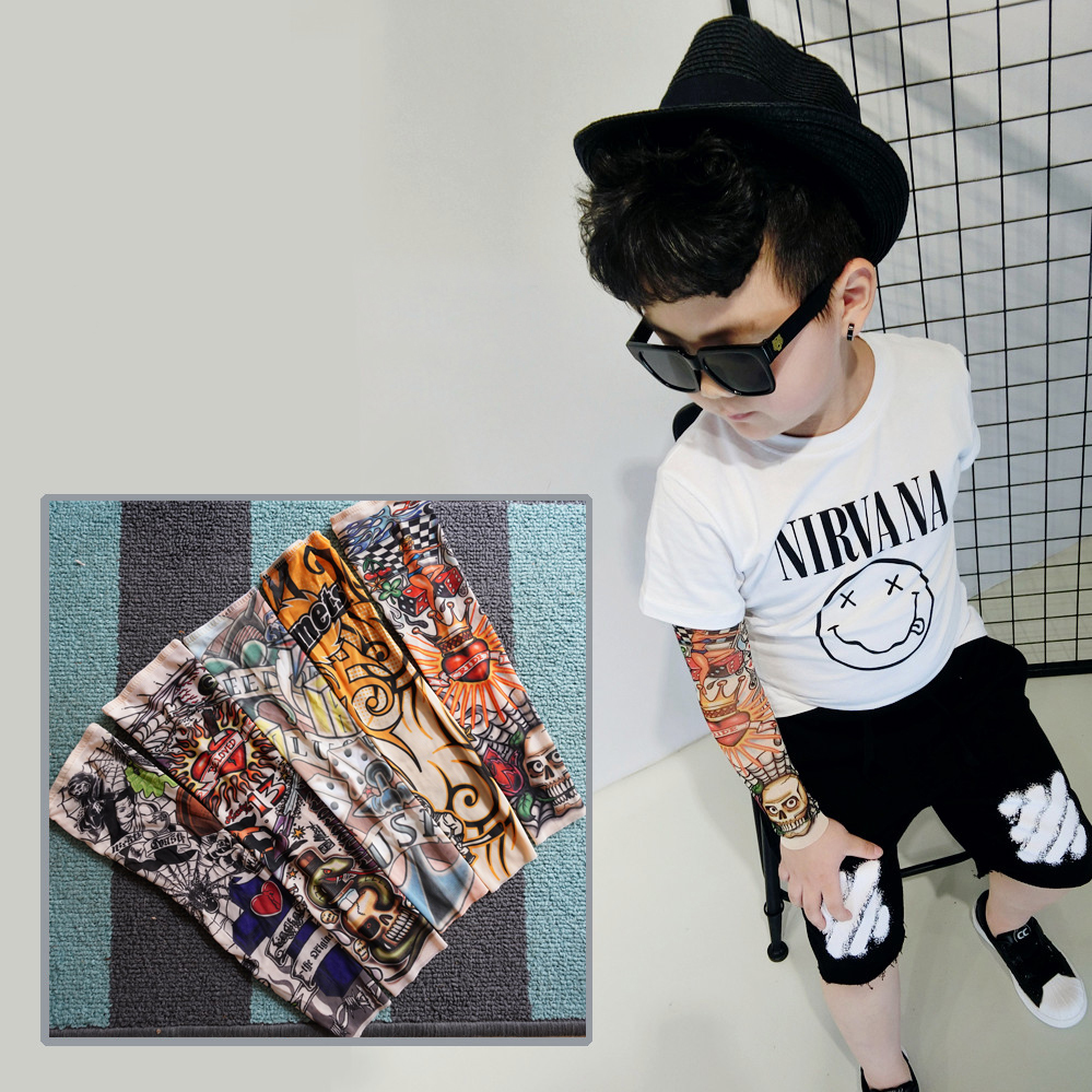5PCS Mixed Elastic Fake Temporary Tattoo Sleeve Children Cartoon Designs Cool Child Body Arm Stockings Tatoo 39model Warm Sleeve