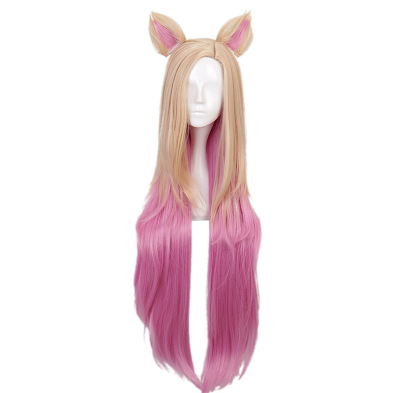 Game KDA Baddest Ahri Cosplay Wigs LOL KDA Cosplay Blonde Mixed Pink Wigs with Ears Heat Resistant Synthetic Hair Wig