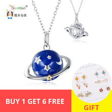 2019 New 100% 925 Sterling silver Blue Enamel Star Planet Necklace pandent fashion jewelry for women girl Birthday gifts цена