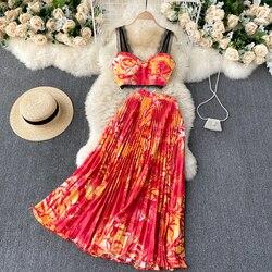 Vacation Beach Skirt 2-piece Set Womens 2021 Summer Short Lace Suspender Sexy Vest Top + High Waist Pleated Skirt Suit Female