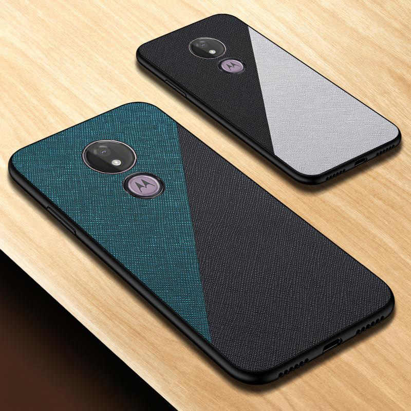 E6 Plus Ultra-Dunne Siliconen Case Voor Moto G7 Plus Case Doek Textuur Leather Back Cover Voor Moto G7 power Play E6 Plus E5 Cover