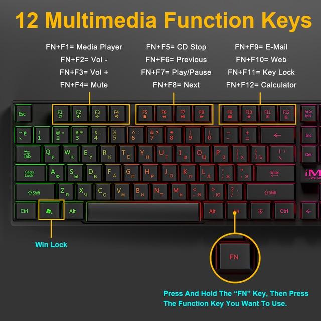 Wired Gaming Keyboard Mechanical Feeling Backlit Keyboards USB 104 Keycaps Russian Keyboard Waterproof Computer Game Keyboards 4