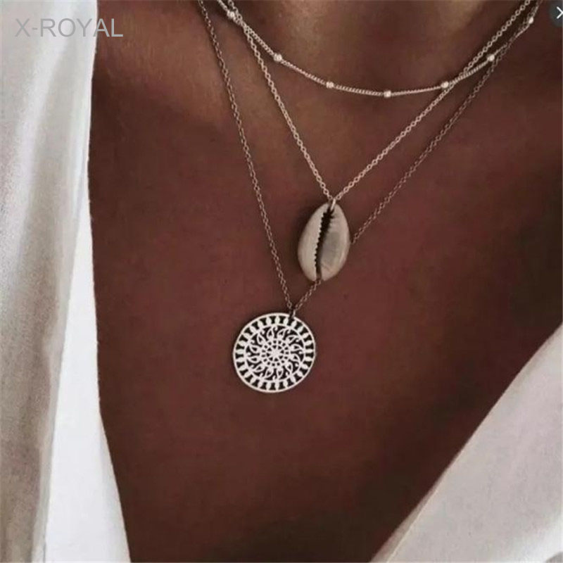 X-ROYAL Summer Fashion Seaside Windy Shell Hollow Flower Pattern Pendant Necklace 3 Layers Boho Beach Travel Chokers Necklaces