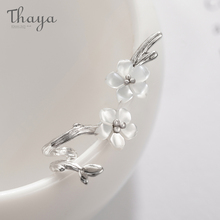Thaya White Cherry s925 Silver Earrings Flower Round Cuff For Women Elegant Fine Jewelry