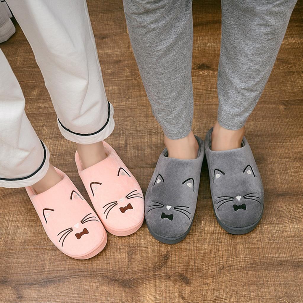 H34e3088fd58b42838e11f4251850c806u Venda quente dos homens das mulheres casa de inverno chinelos quentes casais gato dos desenhos animados não-deslizamento piso chinelos casa interior sapatos