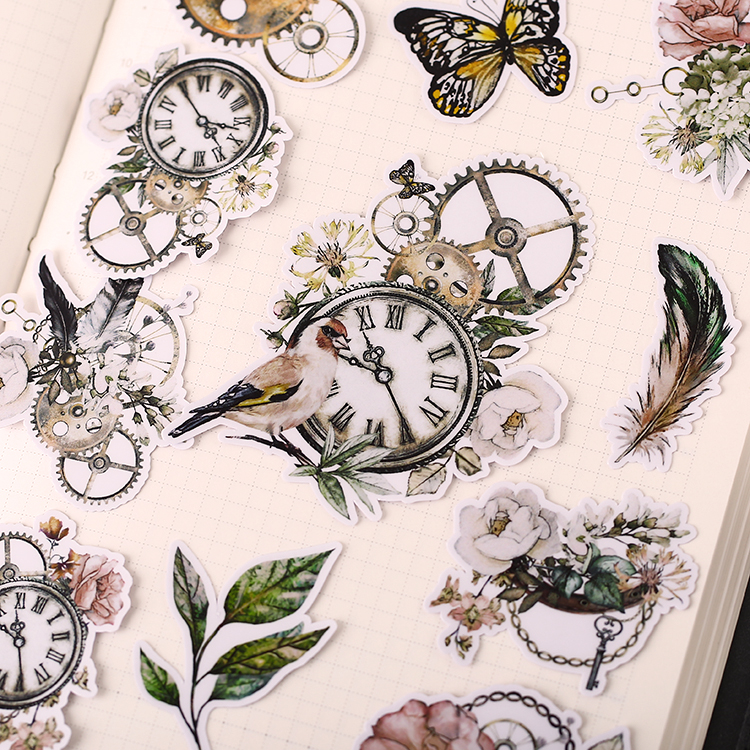 21Pcs/Set Vintage Feather Butterfly Bird Clock Sticker DIY Craft Scrapbooking Album Junk Journal Planner Decorative Stickers