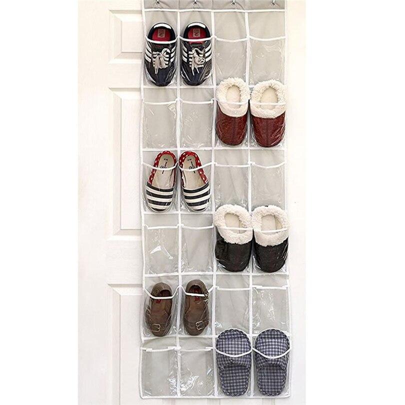 Back Door Shoe Storage Bag Wall-mounted Non-woven Shoes Hanging Organizer Transparent Travel Storage Tidy Organizer Bags J50