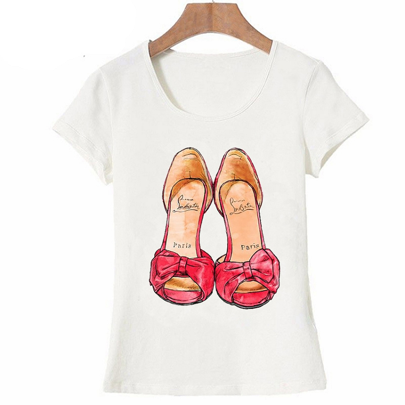 Vintage Fashion Paris T Shirt I Need A Simple Paris Red Shoes Shoe for Women T Shirt Funny Art Design Tops Casual Tees