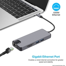 USB Type C to HDMI VGA Gigabit Ethernet Lan RJ45 Adapter for Macbook Air Pro 2018 Type-C USB-C Hub Card Reader