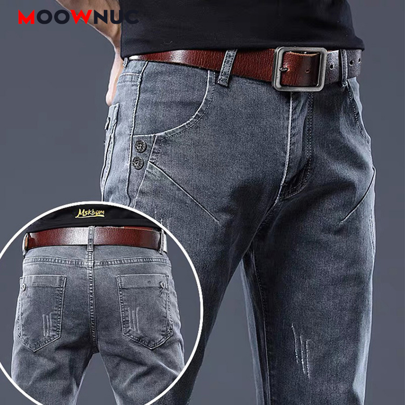 Jeans For Men Business Casual Pants 2020 New Denim Fit Brand Trousers Elastic Spring Autumn Male Solid Designer Straight MOOWNUC