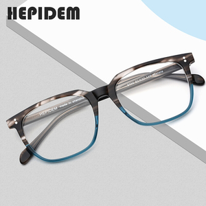 Image 1 - アセテート眼鏡フレーム男性正方形処方メガネ新人男性の男性近視光学フレーム眼鏡眼鏡9114