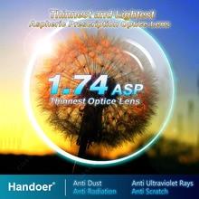 Handoer ультратонкие линзы с защитой от излучения 1,74, асферические линзы с одним зрением и защитой от УФ лучей, 2 шт.