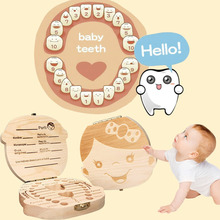 Baby Tooth Box /English/  Wooden Milk Teeth Organizer Storage Boys Girls Baby Souvenirs Gift