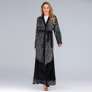 Image 2 - Рамадан Эйд Мубарак абайя кимоно женский кардиган хиджаб мусульманское платье Турецкий ислам одежда искусственная кафтан халат Дубай