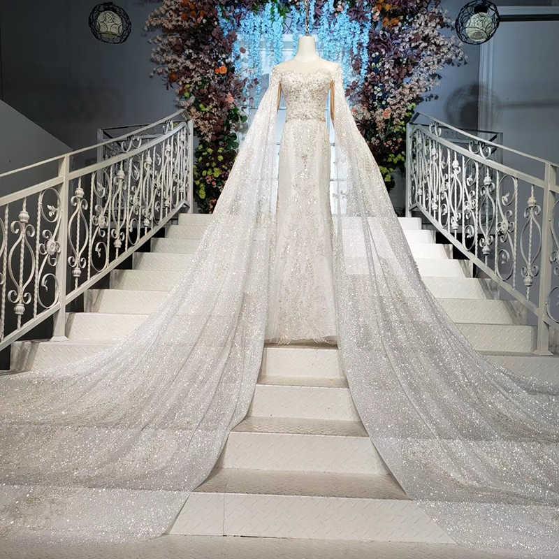 HTL940 Pernikahan BoHo Gaun Mermaid Dilepas Lengan Baju Panjang Ilusi O-Leher Renda Pernikahan Gaun Pengantin Berdandan Seksi Casamento