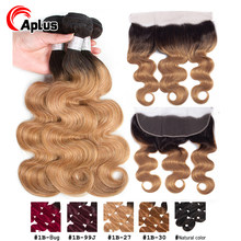 Pre-Colored Blonde Ombre bundles With Closure Body Wave 1B 27 30 Remy human Hair Weave 3 Bundles With Ear to Ear lace Frontal(China)