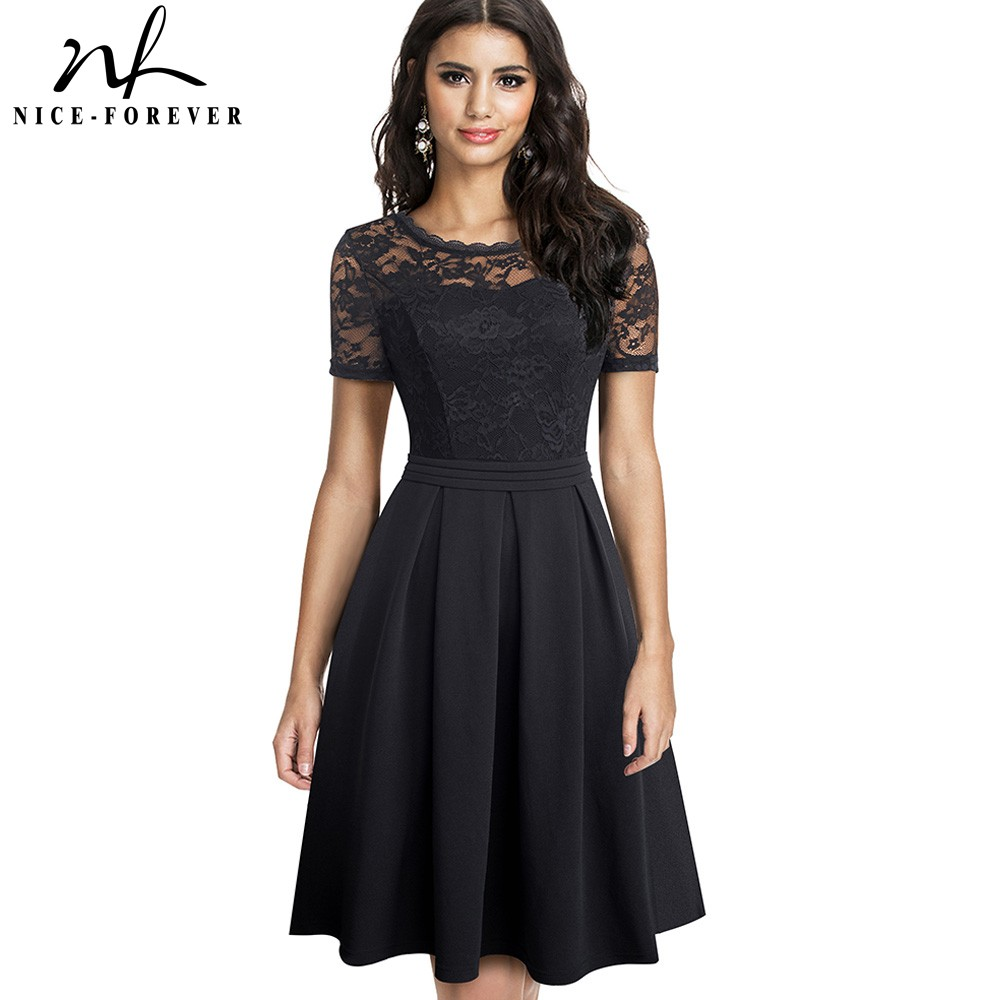 Nice-forever Elegant Lace Patchwork With Back V Vestidos Party Retro Women Flare Swing Dress A203