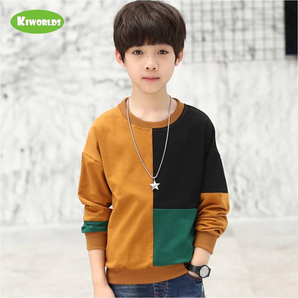 2021 Spring High quality long sleeve soft cotton boy black green khaki T-shirts fashion tops tees clothing for kids 4