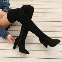 Designer Flock Over The Knee Boots Autumn Winter Boots 2019 Thigh High Boots Shoes Woman Sexy Super High Heel Female Big Size 43