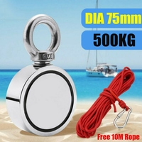 500KG Strong Neodymium Magnet Double Side Search Magnetic Hook Super Power Salvage Sea Fishing Magnet Holder with 10M Rope