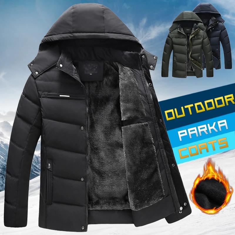 Men/'s Winter Casual Hooded Jacket Padded Zipper Coat Puffer Down Parka Outwear