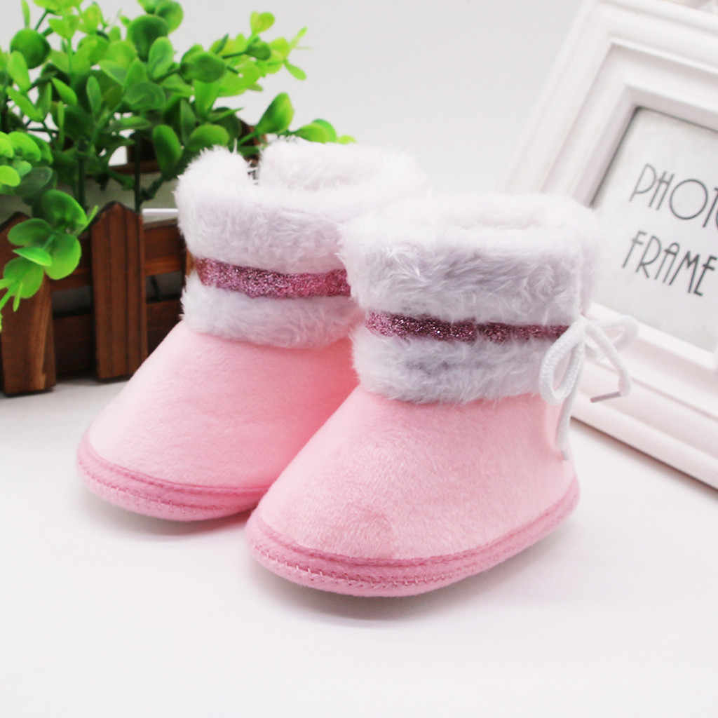Girls Boots For Newborn Baby Boy Girl Shoes Winter Warm Plush Princess Kids Shoes Botas Toddler Pink Outdoor Tenis Infantil 19Sp