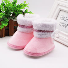 Girls Boots For Newborn Baby Boy Girl Shoes Winter Warm Plush Princess Kids Shoes Botas Toddler Pink Outdoor Tenis Infantil 19Sp(China)