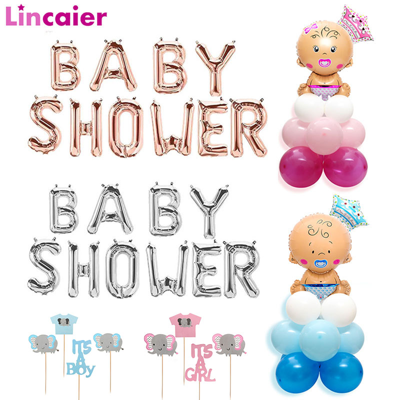16inch Baby Shower Foil Balloons BabyShower Party Decorations Its A Boy Girl Elephant Gender Reveal Game Oh Baby Table Supplies