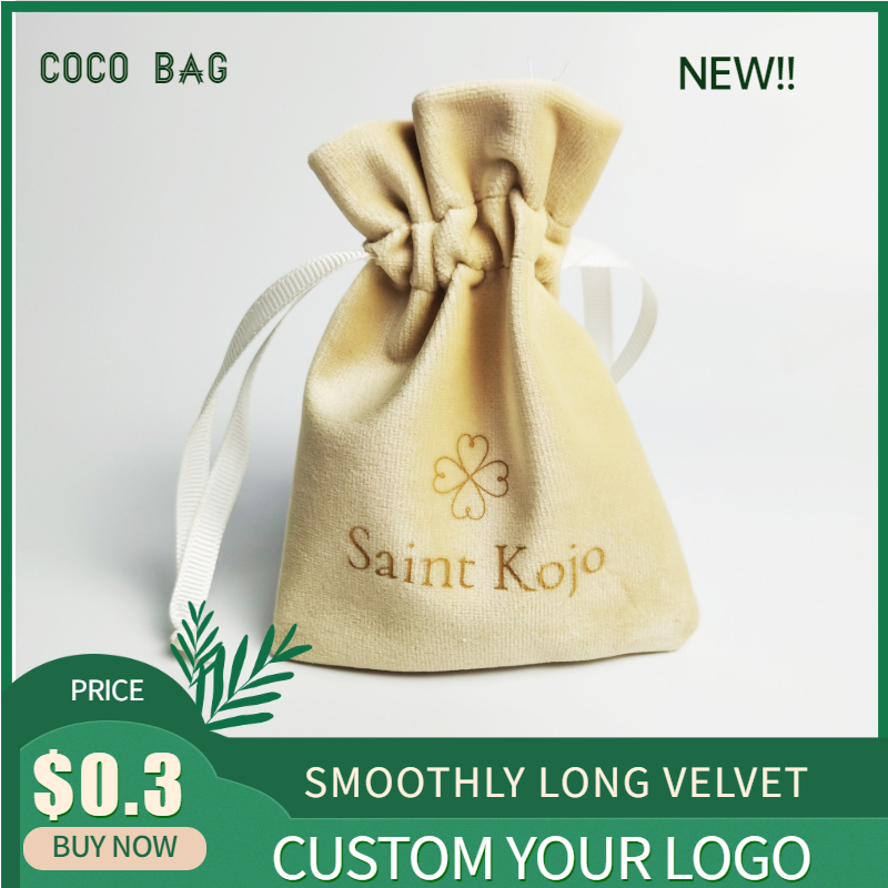 Custom Logo Small Velvet Bag  Soft Smoothly Flannel Cloth Ribbon Drawstring  Storage Pouches Jewelry Beads Containers Gift Bags