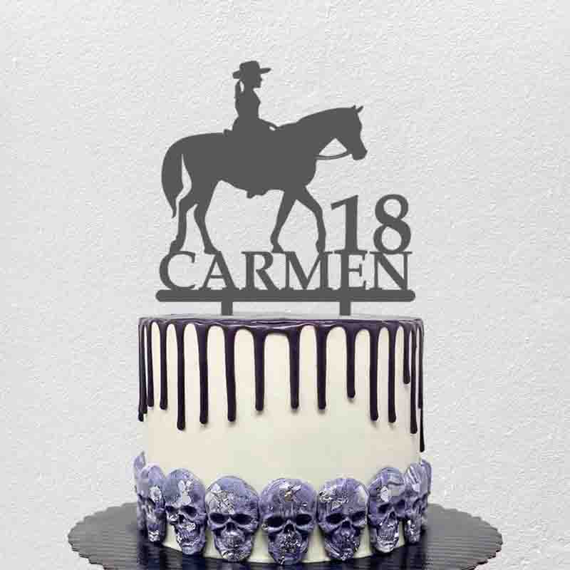 Personalized Birthday Cake Topper Custom Name Age Girl Riding Horse For Girl's Birthday Party Cake Decoration Topper