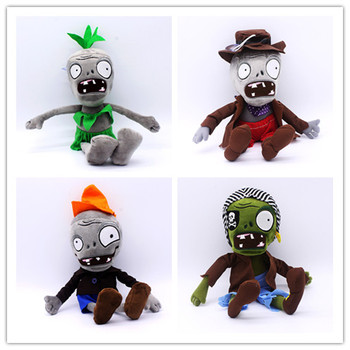 Plants Vs Zombies Anime Figure Hula Pirate Newspaper Conehead Cowboy Zombies Plush Doll Kids Toys 28CM image