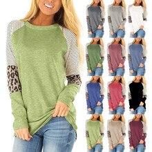 12 цветов Женская Осенняя полосатая леопардовая печатная реглан рукав круглый воротник Элегантная футболка