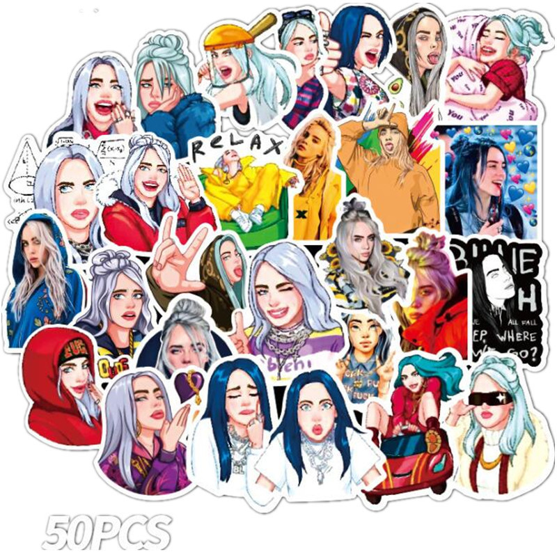 Singer Billie Eilish Sticker Cosplay Bagde Cartoon Graffiti Stickers For Laptop Skateboard Suitcase Guitar Moto Car