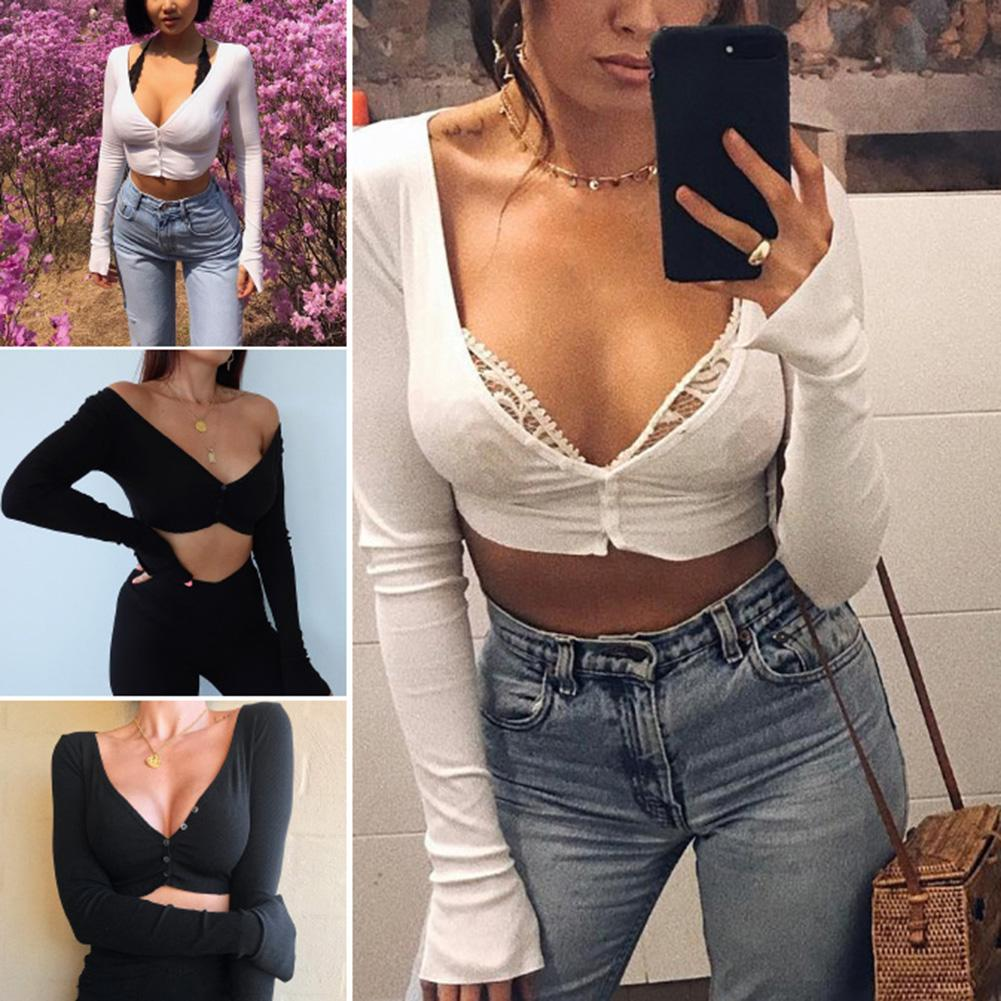 Sexy Women Solid Color Long Sleeve Deep V Neck Button Crop Top  Off Shoulder Backless Knitwear