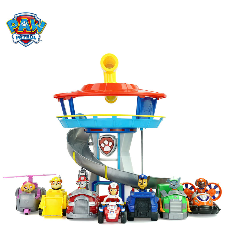 Paw Patrol Dog Plastic Playset Observatory Toys Patrulla Canina Cars With Music Action Figures Model Toy Child Toys Gifts