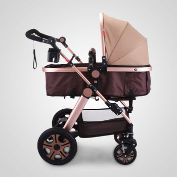 Baby Stroller Portable 3 In 1 High Landscape Stroller Folding Carriage Gold Newborn Baby Stroller image