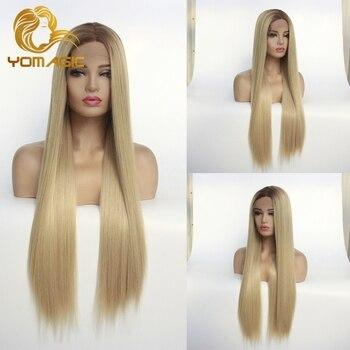 Pelucas de pelo sintético liso de seda Yomagic LÍNEA DE PELO Natural fibra resistente al calor Color marrón pelucas con cordón delantero sin pegamento