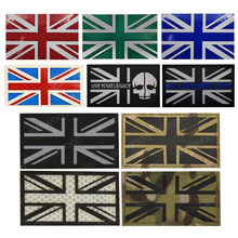 Remendo reflexivo da bandeira britânica da união jack ir inglaterra reino unido grã-bretanha reino unido bandeira militar applique emblema remendo